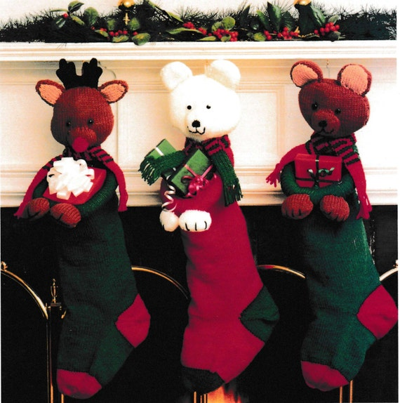 Vintage Christmas Stocking Knitting Pattern : PDF Vintage Stuffed Animal Stocking Knitting Pattern   Vintage, Retro, Christ...