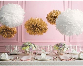 8 Gold/Tan and White Tissue Paper Pom Pom Set | Wedding, Birthday, Bridal Shower, Home Decor, Nursery & Party