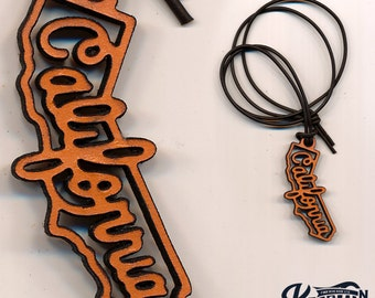 Laser Cut Leather Necklace and Keychain - California