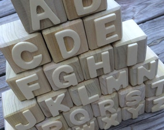 Alphabet Blocks,  ABC Blocks, Wooden Letters, DIY Wooden Blocks, Unfinished Wooden Blocks, Wooden Toy, Baby Shower Activity,