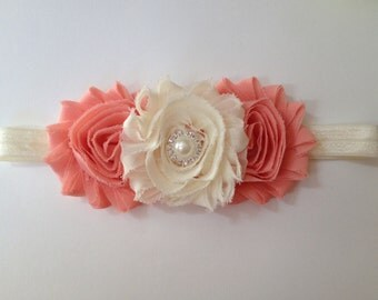 Peach and Cream Flower Headband, Girls Headband