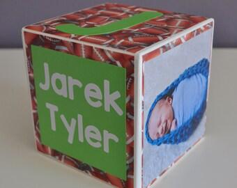Personalized Baby Birth Announcement, Custom, Boy, Birthday, Wood Photo Block, Nursery Decor, Newborn Keepsake, Baby Gift, Football, Green