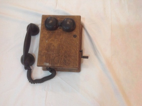 1930's Western Electric Telephone With Oak Dovetail Crank Ringer Box.