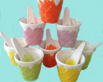 Hand painted Ice Cream Cup and Spoon