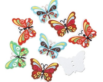 """100PCs Wood Painting Sewing Buttons Scrapbooking Butterfly Mixed 2 Holes 24mm x 17mm(1"""" x 5/8"""")"""