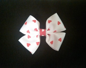 Small Red & White Hearts Hair Bow