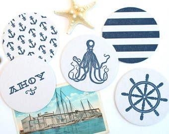 Nautical Letterpress Coaster Set