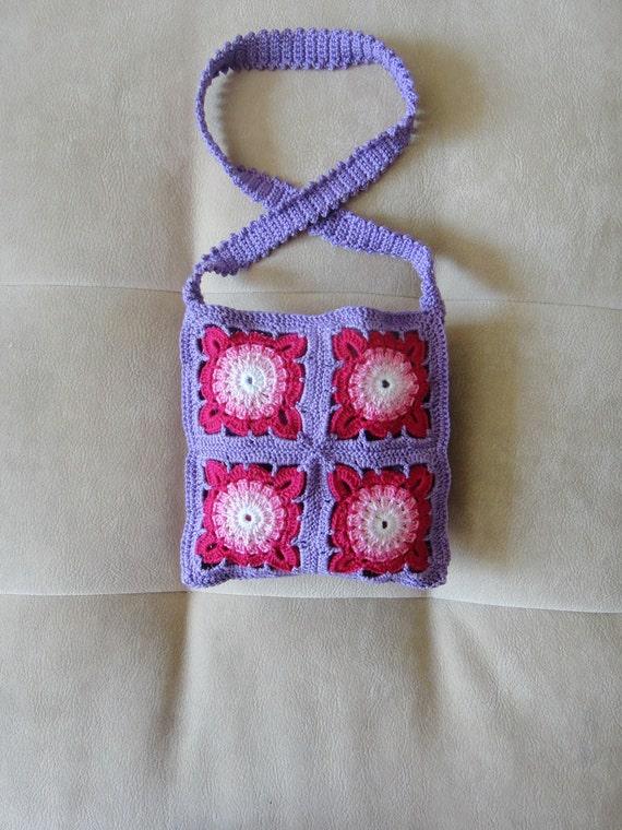 Beautiful Crochet Bags : purse. Beautiful purple purse for girls. Crochet bag. Crochet purse ...
