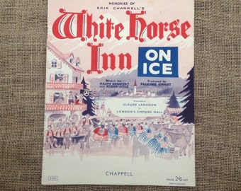 SALE WAS 3.50 Vintage Piano Sheet Music. Memories of Erik Charrell's White Horse Inn On Ice 1931 by Ralph Benatzky and Robert Stolz. Artwork