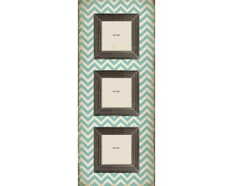 Shabby Chic Teal Chevron 3 Slot Wood Picture Frames