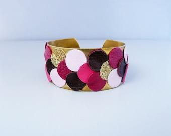 Leather Cuff Bracelet and round shaped, brass, pink glitter fabric, Fuchsia, light pink, Burgundy