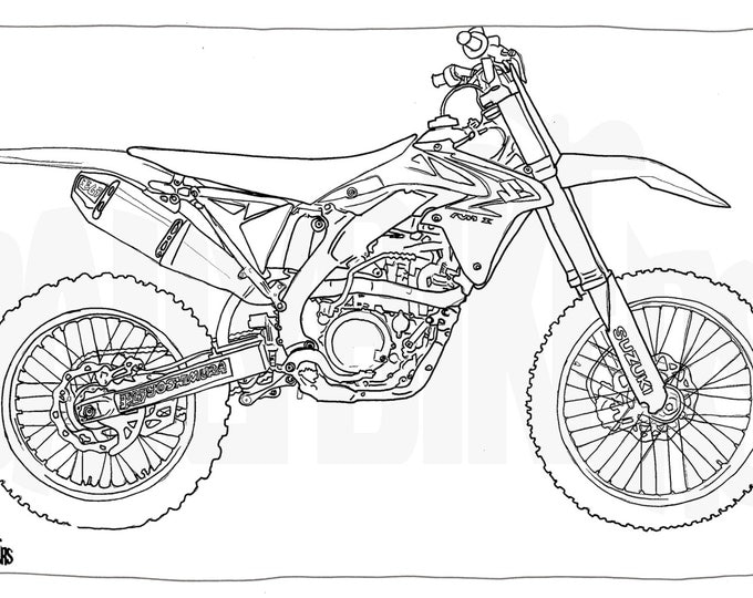 Adult Colouring Page - Motorcycle Illustration - Motorcycle Coloring - Suzuki RMZ 450