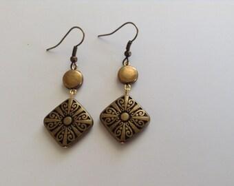 Long dangly brass earrings (item #153)