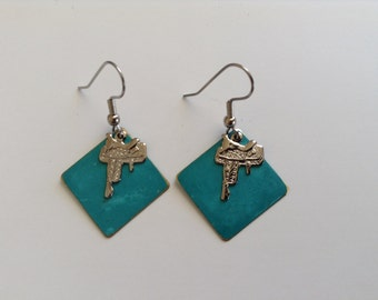 Turquoise patina drop with silver saddle charm (item #155)