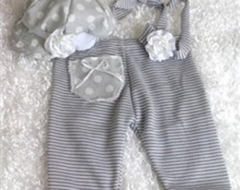 Grey Dots 'n Stripes Girls Newborn Pant Set Photo Prop