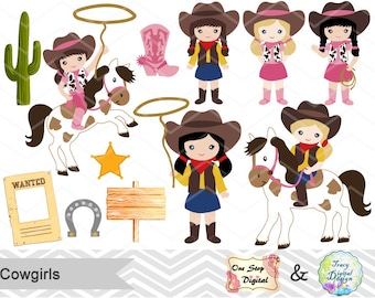Digital Cowgirls Clip Art, Wild West Digital Clipart, Cowgirl Digital Clipart, Instant Download Wild West Cowgirl Digital Clip Art, 0183