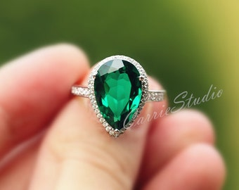 Emerald Engagement Ring 10*15mm Pear Emerald Ring Wedding Ring 925 Sterling Silver Gemstone Ring Anniversary Ring Promise Ring