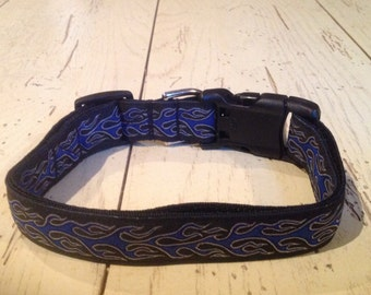 1 Inch Wide 9-12 Adjustable Jacquard Ribbon with BlueFlames Dog Collar