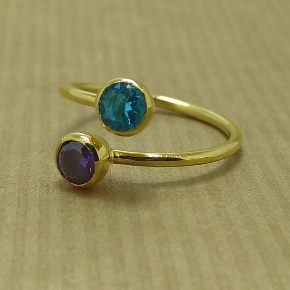Dual Birthstone Ring Couples Birthstone Ring by NKSILVER ...