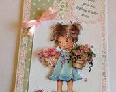 Feel better soon card, girl with flowers, blank card, get well card