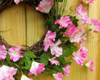 Summer Wreath For Front Door, Summer Wreath, Year Round Wreath, Large Wreath, Pink Wreath, Morning Glory Wreath For Door, Pink Spiral Wreath
