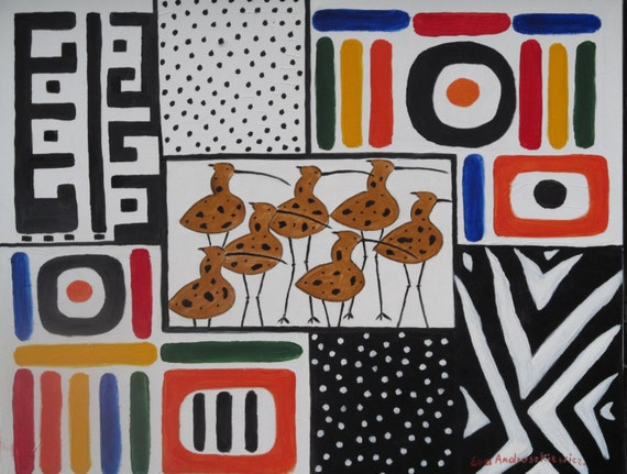 Africa-abstract. Oil painting original.  Large oil.colours; black, white, red, orange, yellow, blue, green. ready to ship