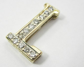 14k yellow gold, letter L pendant with diamonds