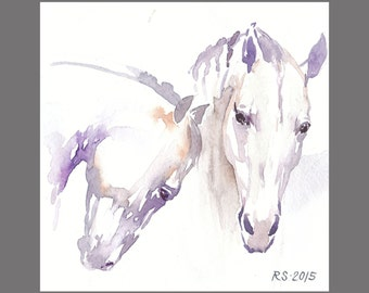 White Horses painting 11.6x11.6 inches Art Print from the Original watercolor Painting