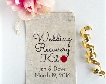 10 Wedding Favors, Hangover Kit, Survival Kit Favor Bags, Gift Bags, Thank you Bags - Wedding Recovery Kit, Custom