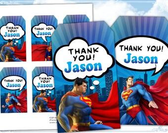 Superman Thank you tags Gift tags Superman birthday tags Printable digital tags