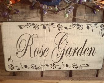 Primitive Style Rose Garden Sign