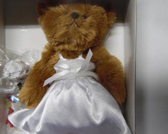 Franklin Mint Wedding Girl Bear doll New in package