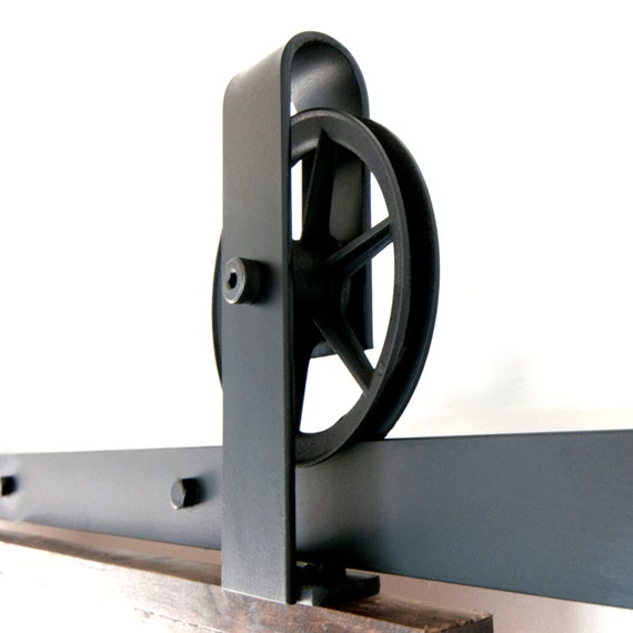 Vintage Industrial Spoked Sliding Barn Door Hardware By PeonyRow