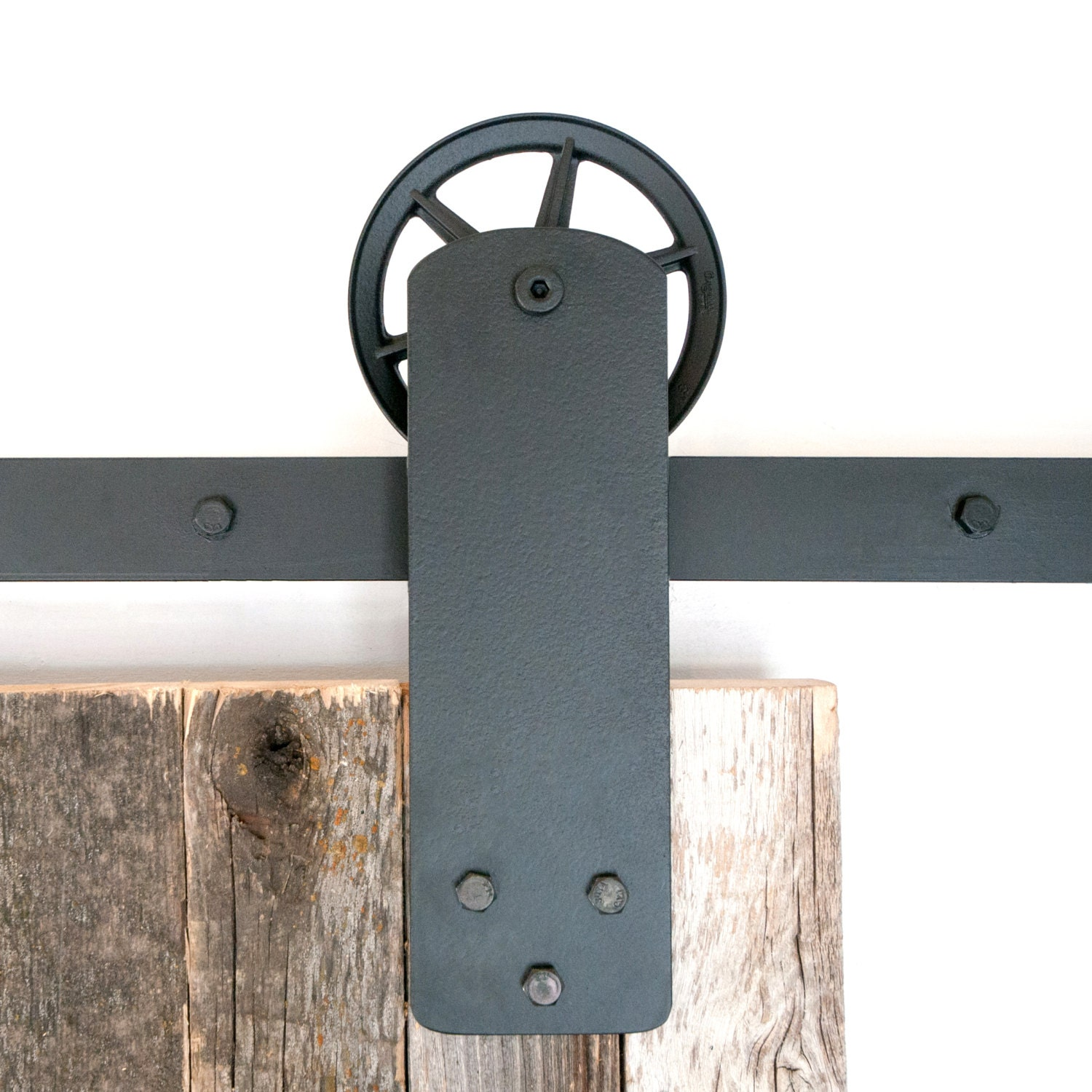 Industrial wide strap front mount sliding barn door hardware
