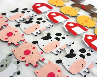 24 x Farm Animals Cupcake Toppers - chicken, lamb, horse, pig, cow, barn