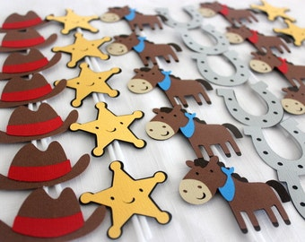 24 x Cowboy Cupcake Toppers - Horse, Sheriff Star and Horse Shoe - Birthday Party