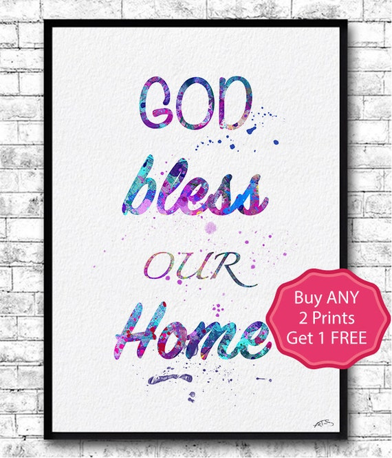god bless our home print watercolor giclee wall art by. Black Bedroom Furniture Sets. Home Design Ideas