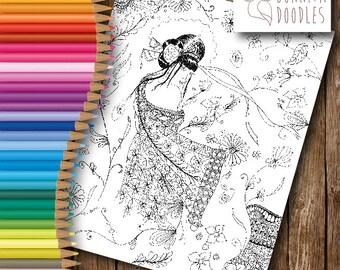 Geisha Digital Download Colouring sheet