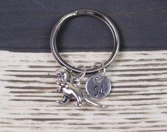 initial keychain, dinosaur keychain, silver Tyrannosaurus Rex charm , T-rex keychain, paleontology gift, christmas gift, best friend gift