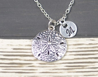 initial necklace, sand dollar necklace, silver sand dollar on silver plated chain, nautical necklace, gifts for bridesmaid, wedding on beach