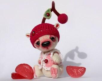 Miniature Crochet Bear Amigurumi Toy bear (Cherry) OOAK bear - Made to Order