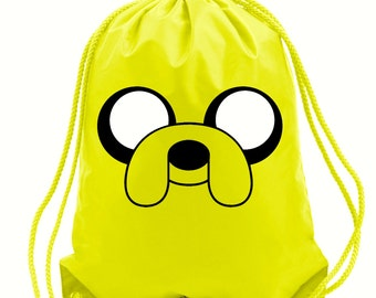 Jake the dog gym bag,pe bag,school bag,water resistant drawstring bag.
