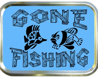 Gone fishing design 2oz gold tobacco tin,pill box,storage tin