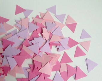 Wedding Party table confetti, geometric pink triangles