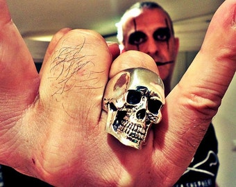 Large Anatomical Skull Ring Handcrafted