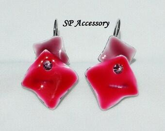 Red Square Earrings, Crystal Earrings, red jewelry, stainless steel earrings, jewelry earrings