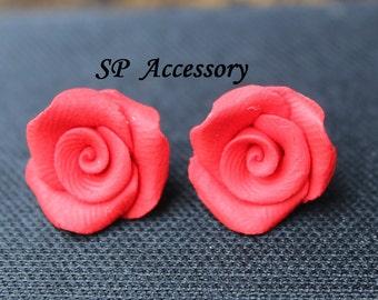 Earrings Rose, earrings clay, clay flower, jewelry earrings, flower earrings, red rose, black rose, white rose, pink rose, vintage