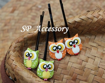 Lovely Hair Pin Owl, hair pin clay, jewelry hair pin