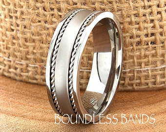 Titanium Ring Comfort Fit Custom Engraving Wedding Band Engagement Anniversary Man Wedding Band Silver Braided Laser Engraved 6mm Classic