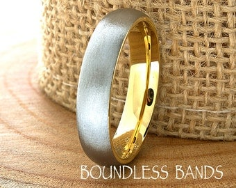 Gold Tungsten Wedding Band Mens Ring Mens Wedding Bands Tungsten Ring Rings Dome Round 5mm Engraving Anniversary His Hers Set Size New Gold